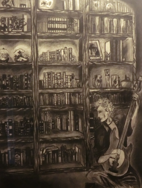 Bookshelf and Guitarist